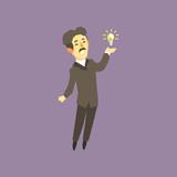 Full-length portrait of Nikola Tesla - famous scientist, electrical engineer and inventor. Cartoon man character and bright lamp. Colorful flat vector design