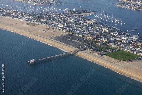 Aerial view of Newport Beach Pier in scenic Orange County California.