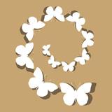 White spiral butterflies in vector
