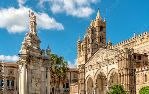 Plexiglas Palermo View of Palermo Cathedral with Santa Rosalia statue, Sicily, southern Italy