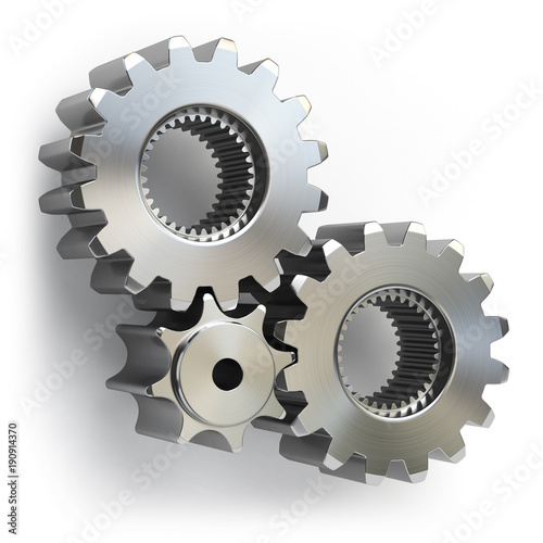 Metal gear wheels isolated on white background. Tools, settings or perpetuum mobile concept.