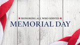 Memorial Day Text, Honoring All Who Served with American Flag over White Wood Background - 190923959