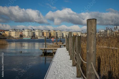 Fotobehang Stockholm Sjöstaden Stockholm winter