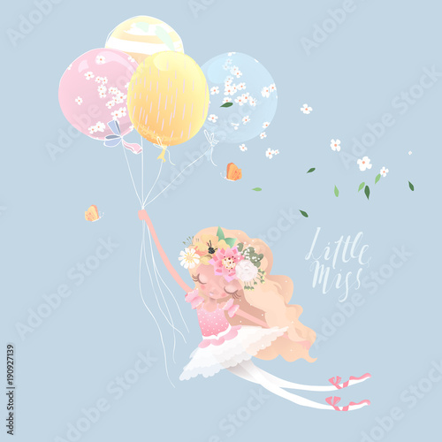 Fototapeta Beautiful ballet girl, ballerina with flowers, floral wreath, bouquet and tied bows flying with the balloons. Little Miss lettering