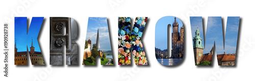Fotobehang Krakau Krakow Poland raised collage