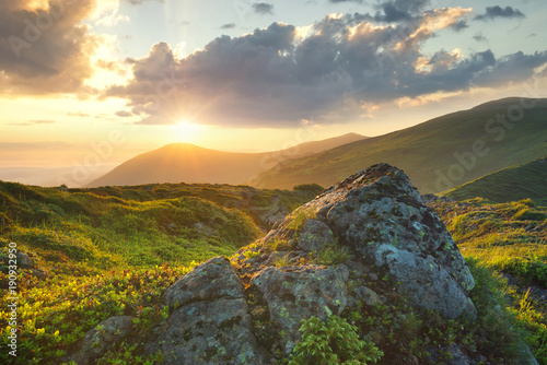 Mountains during sunset. Beautiful natural landscape in the summer time..