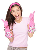 Cleaning woman happy excited showing thumbs up success hand sign smiling joyful isolated on white background. Beautiful fresh energetic multiracial Caucasian / Chinese Asian female model. - 190933529