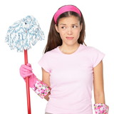 Funny cleaning girl unhappy with chores during spring cleaning at home. Housewife or cleaning lady maid Asian girl looking at mop unmotivated to clean, isolated on white background. - 190933568