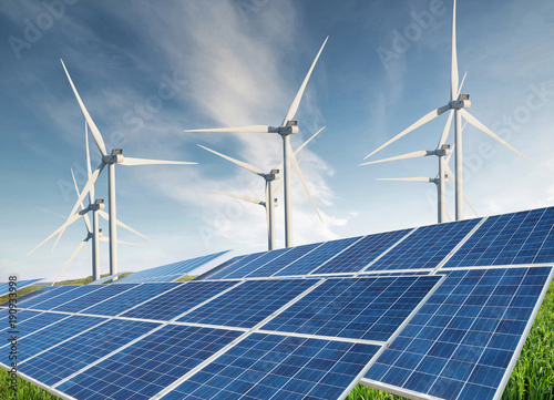 Solar panel  and wind power station. Ecological energy concept and idea.