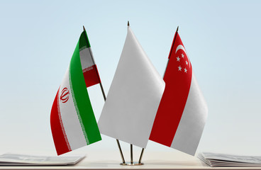 Flags of Iran and Singapore with a white flag in the middle
