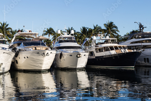 Luxury Yachts on display during Miami Boat Show, Florida.