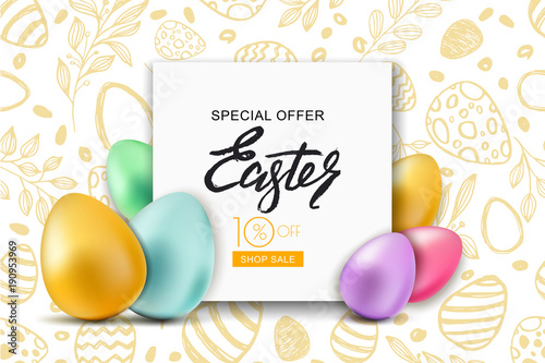Happy Easter sale banner. Vector holiday frame with multicolor 3d Easter eggs on hand dawn doodle background. Design for holiday flyer, poster, party invitation. © Betelgejze