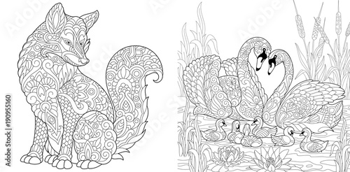 Coloring Page. Adult Coloring Book. Wild Fox animal. Swan birds couple for Valentines or Family Day vintage greeting card. Antistress freehand sketch collection with doodle and zentangle elements.