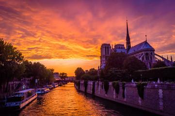 Stunning pink sunset over Paris