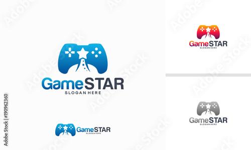game star logo designs concept game controller logo template vector