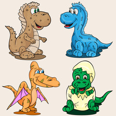 illustration depicting little babies of different dinosaur childrens picture