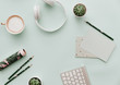 Modern Pastel Hipster Flat Lay With Headphones, Coffee, Supplies. Flat Lay, Top view