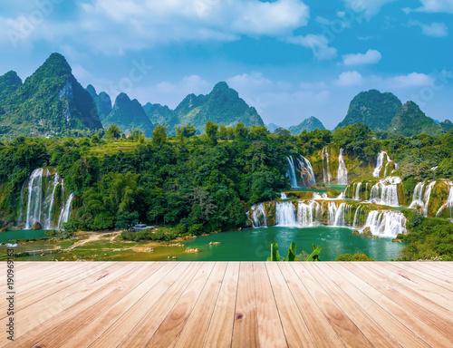 Poster Blauw waterfall