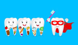 Funny cartoon tooth holding toothbrush. Tooth with food and Super tooth character. Human tooth problem, dental care concept. Illustration isolated on blue background.