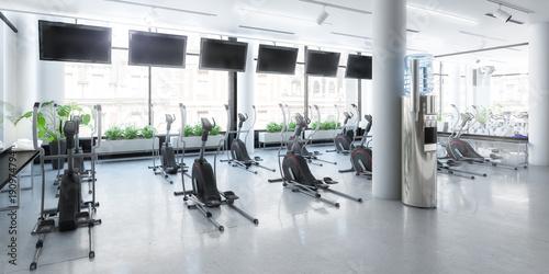 Plexiglas Fitness Crosstrainer im Fitness-Zenter (panoramisch)