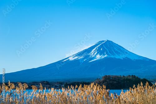 Foto op Aluminium Blauw 富士山と河口湖