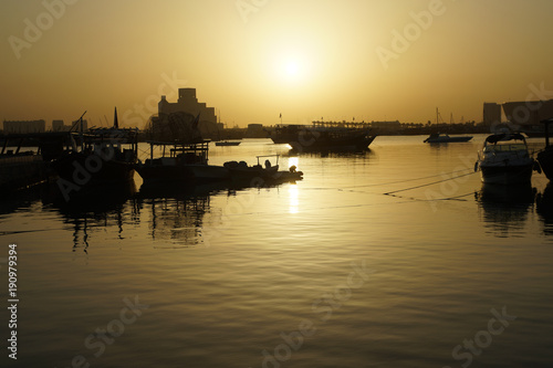 Dhows on Sea in tranquil morning on sea of Doha