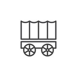 Horse carriage wagon line icon, outline vector sign, linear style pictogram isolated on white. Symbol, logo illustration. Editable stroke