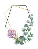 Watercolor vector composition from the branches of eucalyptus, purple flowers and gold geometric frame. - 190982149