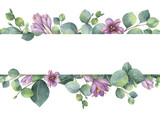 Watercolor vector wreath with green eucalyptus leaves, purple flowers and branches. - 190982199