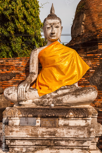 Papiers peints Buddha bouddha, temple de Wat Yai Chai Mongkol, Thaïlande