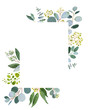 Wedding greenery template. Watercolor illustration with eucalyptus.