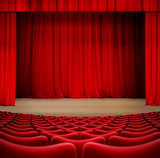 theater curtain on stage with red seats 3d illustration - 190988994