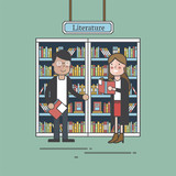 Couple in a literature shop - 190989323