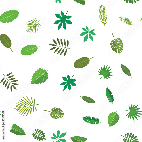 Seamless pattern with green tropical leaves. Floral background, vector illustration on white background.