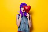 girl with purple hair and heart shape balloon - 190996167