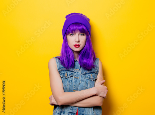 young style hipster girl with purple hair