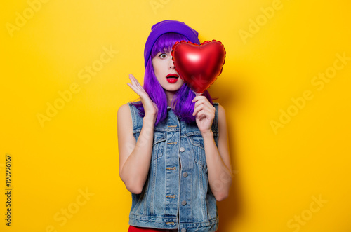 girl with purple hair and heart shape balloon