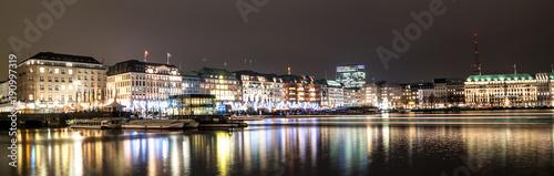 Keuken foto achterwand Panoramafoto s Hamburg Panorama Nachts