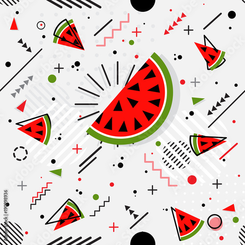 Trendy seamless, Memphis style watermelon geometric pattern, vector - 190998936