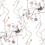 Watercolor painting of leaf and flowers, seamless pattern on white background - 191000385