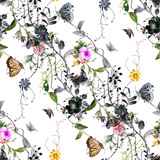 Watercolor painting of leaf and flowers, seamless pattern on white background - 191000393