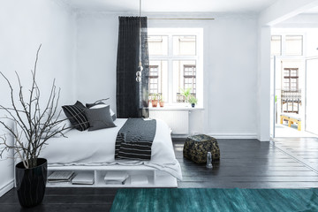 Large spacious grey and white bedroom interior