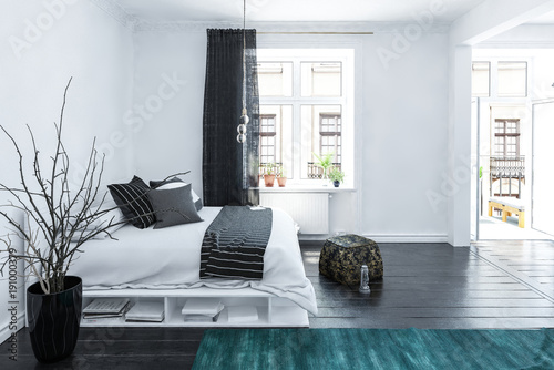 Panel Szklany Large spacious grey and white bedroom interior