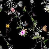 Watercolor painting of leaf and flowers, seamless pattern on dark background - 191000502