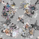Watercolor painting of Butterfly and flowers, seamless pattern on gray  background - 191000518