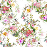 Watercolor painting of leaf and flowers, seamless pattern on white background - 191000521