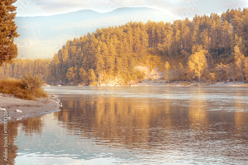 Fotobehang Bergrivier autumn landscape of a mountain river
