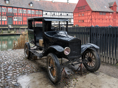 Fotobehang Fiets Vintage car