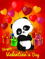 Hand Drawn Cute Panda Bear, vector illustration, Design Postcard St. Valentine's Day.