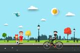 Man on Bicycle with Children on Sidewalk. Flat Design City Park Life Scene. Sunny Day Urban Landscape.